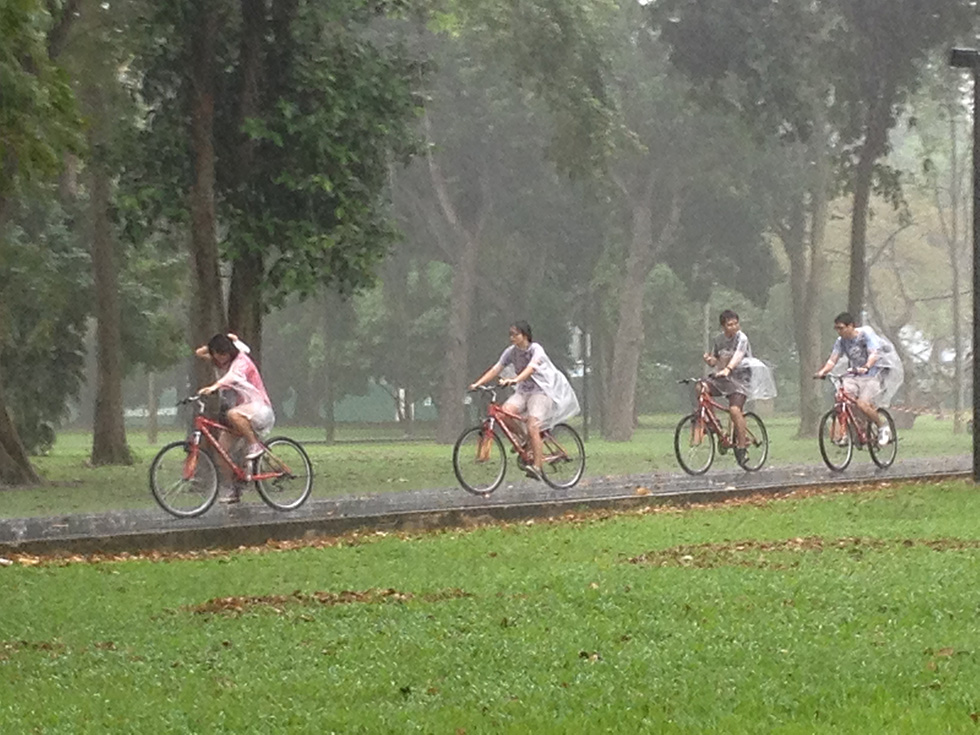 Braving the Singapore monsoon