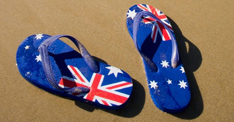 Australian flag thongs on beach