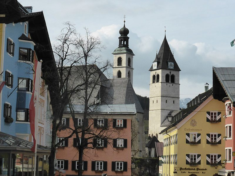 Walking around the Tyrolean village of Kitzbuhel, Austria