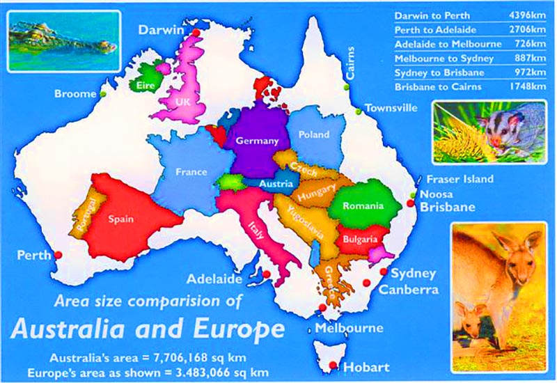 How far away is Australia and how big is our country?