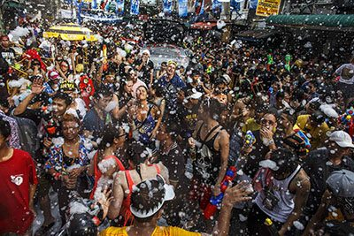 The biggest water fight ever is Songkran, Thailand