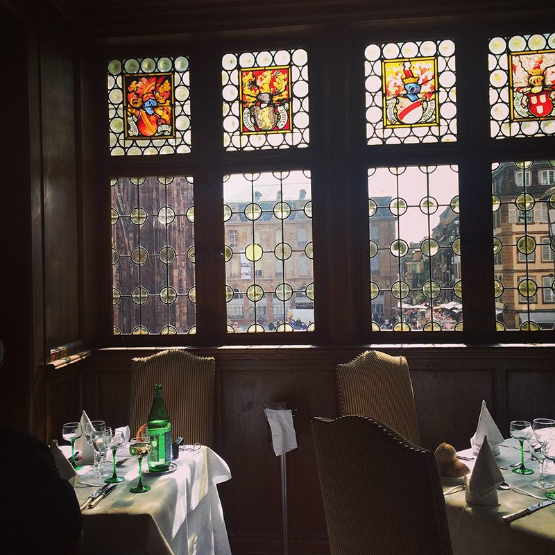 Dining at Maison Kammerzell Restaurant, Strasbourg