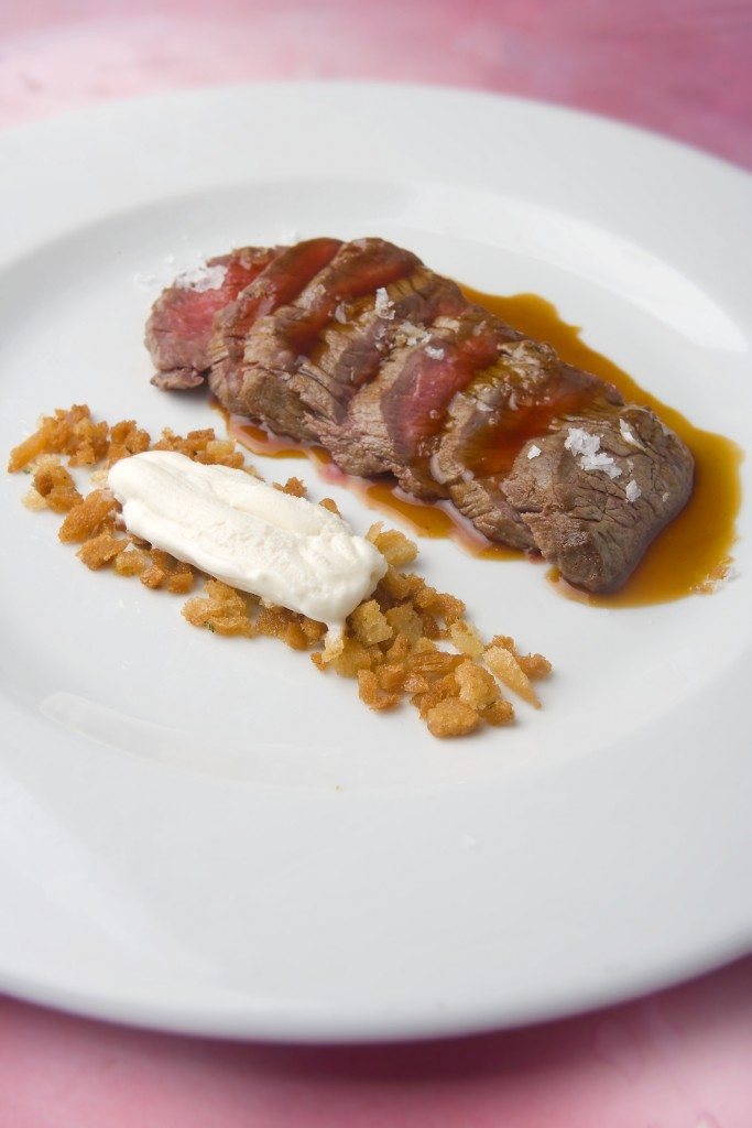 Beef tenderloin with a brandy butter ice cream