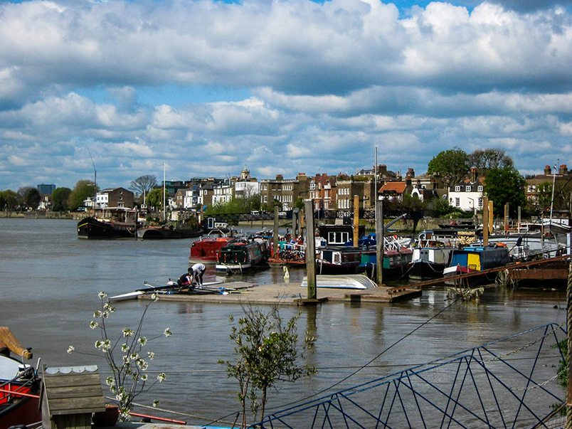 A different side of London on the Thames Path near Chelsea
