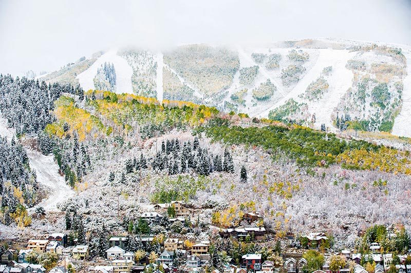 Early snow over Park City, Utah.