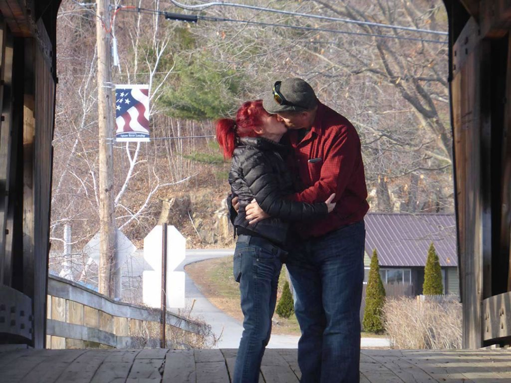 kissing under covered bridges in New England, USA is a must